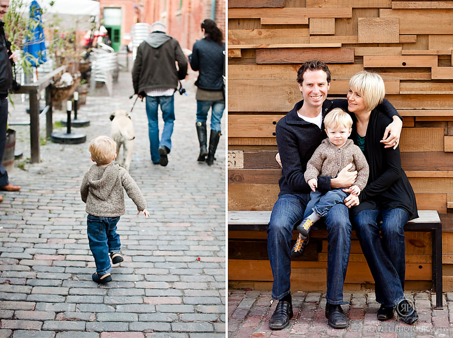 family portraits toronto distillery district- baby boy running