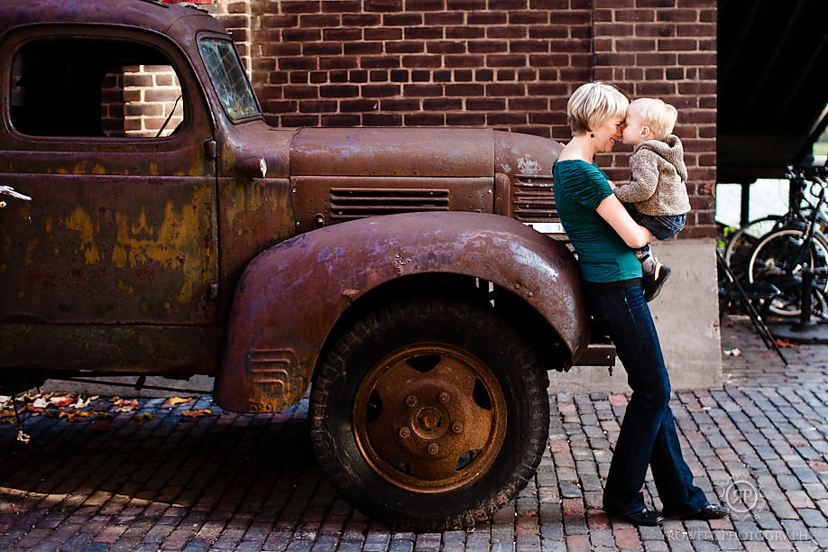 mom and baby pose by old truck- family portraits